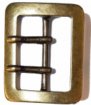 50mm Double Two Prong Old Brass Belt Buckle. Code LPR014